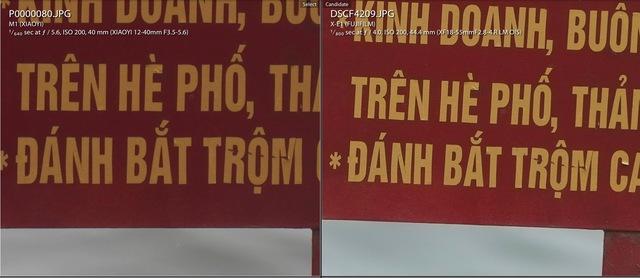 Những con chữ trên bức ảnh của X-E1 rõ nét hơn rất nhiều