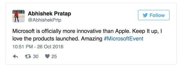 Microsoft đã chính thức sáng tạo hơn Apple. Hãy cứ giữ như vậy nhé, tôi thích các sản phẩm mới ra mắt lắm. Thật tuyệt!.
