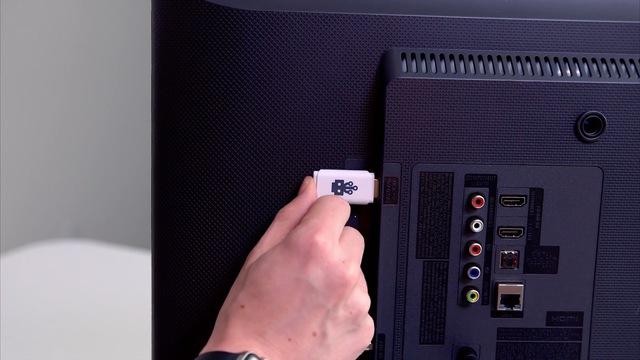 Cắm vào cổng USB ở sau lưng TV