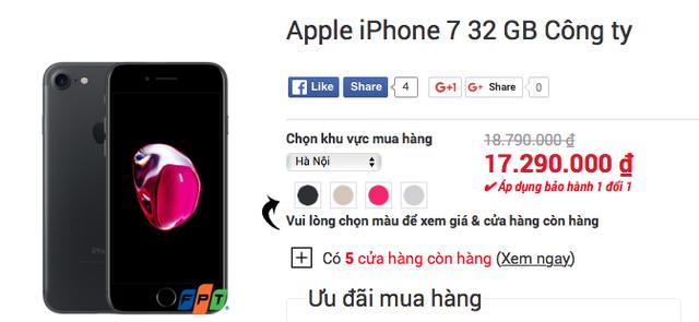 Giá bán iPhone 7 chính hãng được chúng tôi tham khảo tại một số đại lý bán lẻ