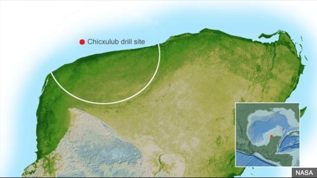 Sơ đồ địa điểm khảo sát: vành đai trắng là phần trên đất liền của miệng núi lửa, chấm đỏ là khu vực vòng đỉnh