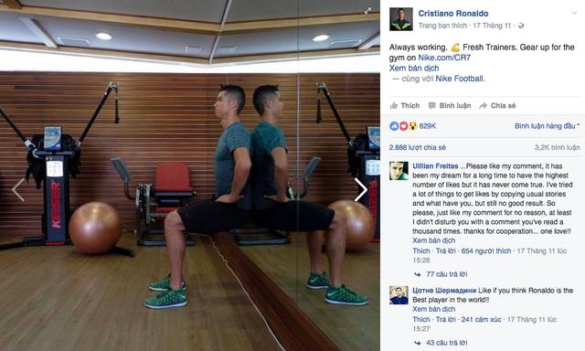 CR7 khoe động tác tập thể dục mới trên Facebook cá nhân