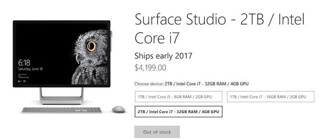 Thông báo Hết hàng trên website của Microsoft.