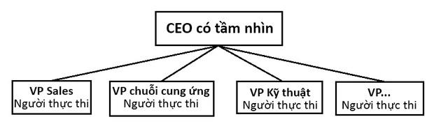 Sơ đồ bố trí quyền lực với CEO và các VP (phó giám đốc) chuyên các mảng khác nhau trong công ty