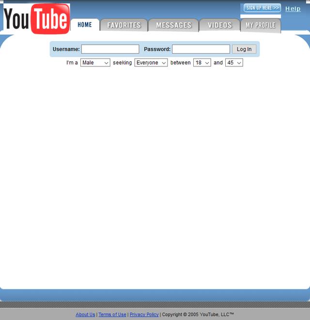 Giao diện ban đầu của YouTube