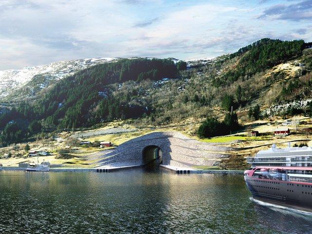 Hình ảnh render của đường hầm Stad dành cho táu thủy.