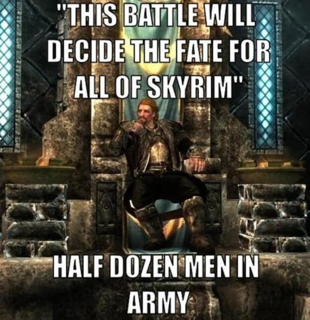 Cuộc chiến này sẽ quyết định vận mệnh cho toàn bộ Skyrim. Có cỡ nửa tá người trong đội quân