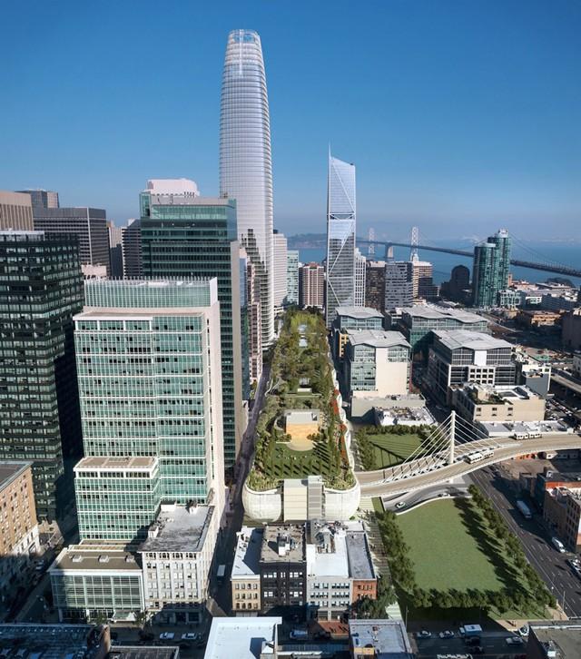 Công viên trên mái rộng hơn 9000 mét vuông của Trung tâm Transbay Transit.