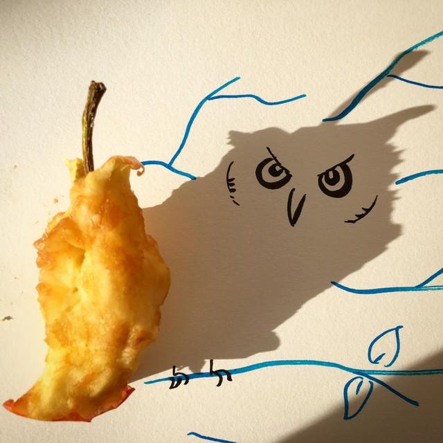 Con cú giận dữ từ... lõi táo