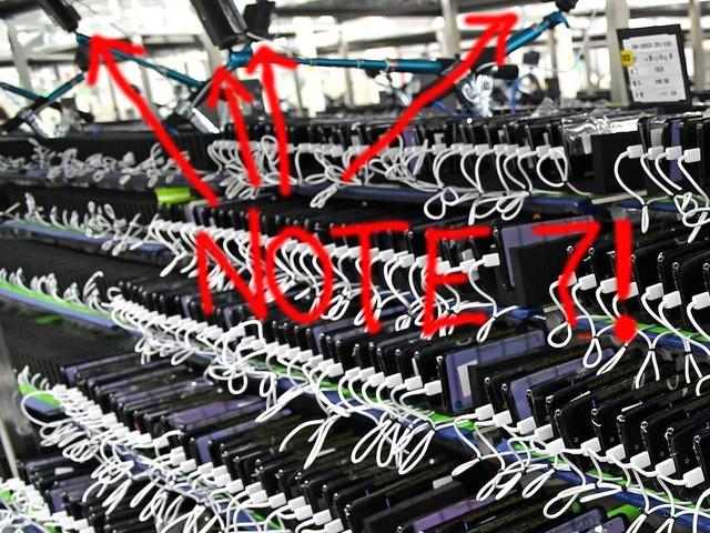 Một số chiếc Note7 được dùng làm camera giám sát quá trình thử nghiệm pin trên hàng ngàn chiếc Note7 khác