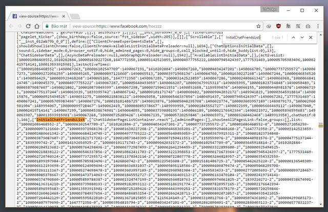 """Lúc này, bạn hãy nhấn tổ hợp phím tắt CTRL + F để gọi hộp thoại tìm kiếm nội dung trên trang của Google Chrome ra. Sau đó nhập vào từ khóa """"InitialChatFriendsList"""" và nhấn phím """"ENTER""""."""