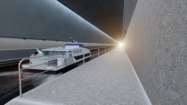 Các loại tàu thuyền sẽ có thể dễ dàng đi qua đường hầm khi có thời tiết xấu ở biển Stadhavet.