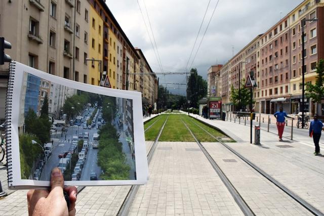 Thành phố thí điểm Vitoria-Gasteiz trước và sau khi mô hình superblock được áp dụng.