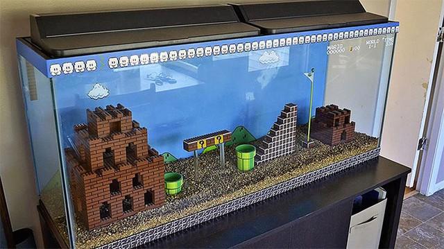 Bể cá LEGO theo phong cách Mario, tuy nhiên phải chắc chắn rằng LEGO của bạn là hãng chính hãng nếu không lũ cá sẽ bị... ngộ độc
