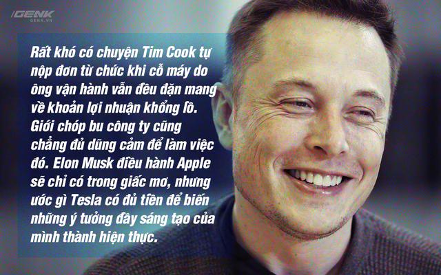 Elon Musk đầy sáng tạo trong khi Tim Cook lại giỏi về tài quản lý.
