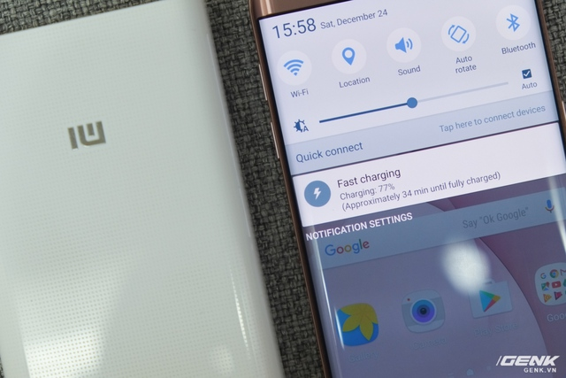 Thử nghiệm với Galaxy S7 edge, máy nhận sạc nhanh và trung bình lên 1% pin trong 1 phút. Rất tiếc, do chiếc máy này chỉ hỗ trợ QC 2.0 nên chưa khai thác hết khả năng của viên pin này
