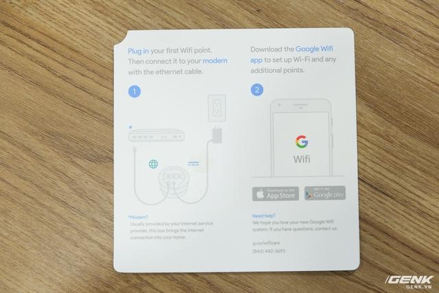 Chỉ bao gồm hai bước duy nhất: Cắm điện và dây ethernet, sau đó sử dụng ứng dụng Google Wifi trên smartphone để thiết lập