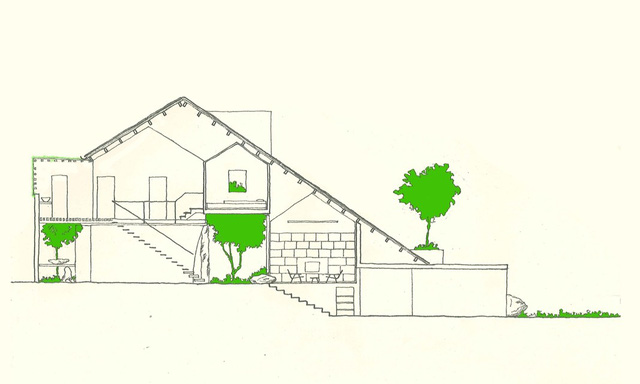 Mặt cắt Uncle's House, ngôi nhà được xây dựng trên 1 khu đất có độ chênh cốt nhất định, chính điều này đã tạo lên 1 lợi thế cho công trình