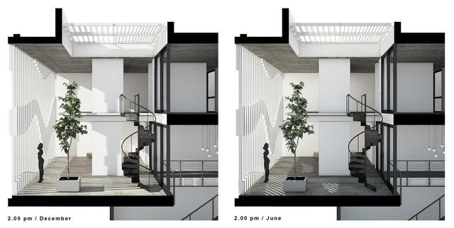 Hệ lam đặc biệt được thiết kế dựa theo hoạt động của mặt trời. Điều này cùng hệ lam thông tầng ở tầng ba đã tạo lên một không gian kết nối giữa phòng ngủ và phòng tập gym thật đẹp mắt.