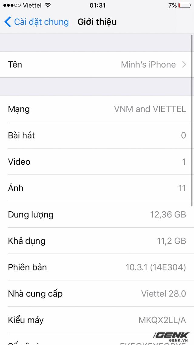 Khi vào phần thông tin thiết bị, mục Nhà cung cấp ghi rõ Viettel 28.0, đúng nhà mạng của SIM chính mà không phải nhà mạng Mỹ, Nhật hay Trung Quốc nào