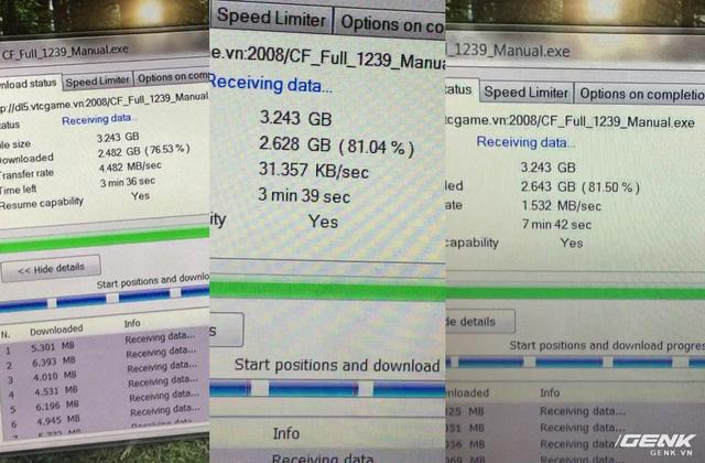 Tốc độ giảm mạnh khi đặt chân lên tầng 5 do khoảng cách với router tầng 3 quá xa, nhưng sau đó được hồi phục khi hệ thống mesh chuyển chiếc laptop sang sử dụng router ở tầng 4