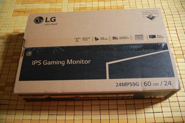 LG 24MP59G có cách thức đóng gói tương đối đơn giản với toàn bộ các tính năng đáng chú ý cho game thủ đều được ghi lên vỏ hộp.