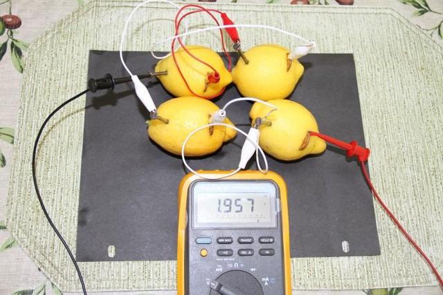 Nguyên lý của viên pin tương tự như thí nghiệm với những quả chanh