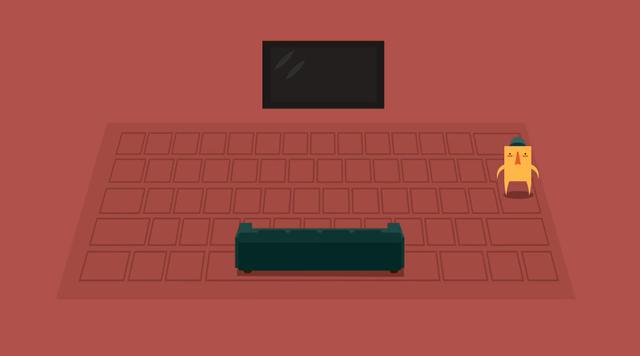 Nhân vật trong Keyboard Sports sẽ di chuyển tới vị trí phím được gõ.