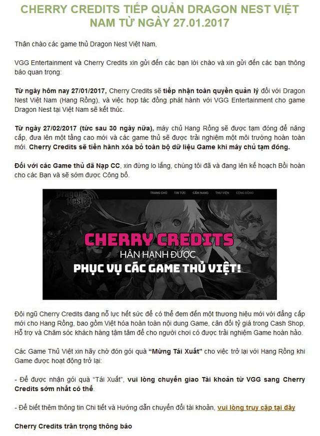 Thông báo chính thức của Dragon Nest Việt Nam.