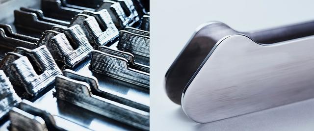 Các linh kiện in 3D làm bằng titanium trước và sau khi được xử lý của Norsk Titanium
