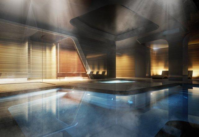 Cùng tầng sẽ có một spa tư nhân, trung tâm thể dục và hồ bơi dài 75 foot.
