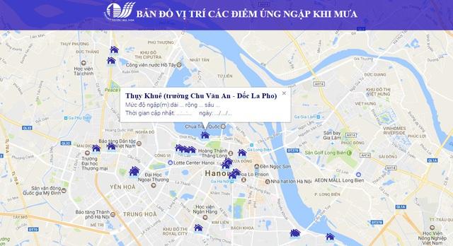 Thông tin trực tuyến về tình trạng úng ngập qua Cổng điện tử https://hanoi.gov.vn/quantracmoitruong.