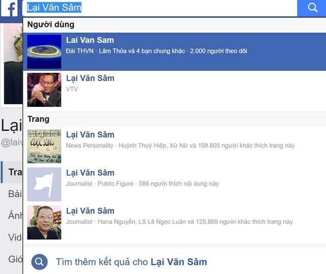 Có hàng trăm Facebook mang tên Lại Văn Sâm được lập ra trong nhiều năm qua