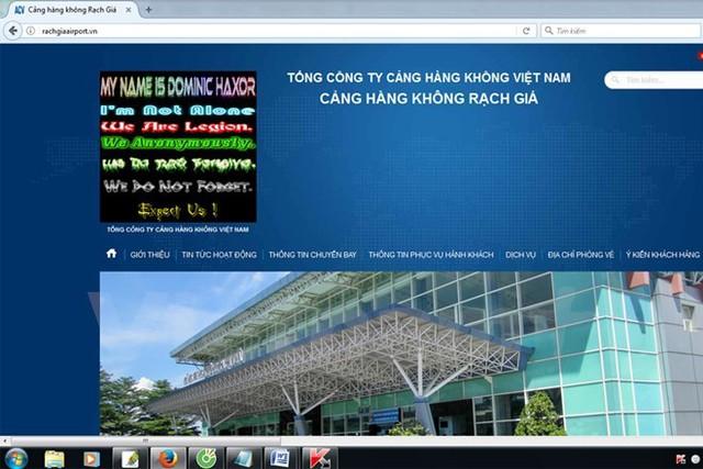 Website của cảng hàng không Rạch Giá bị tấn công. Ảnh chụp màn hình vào chiều 9/3.