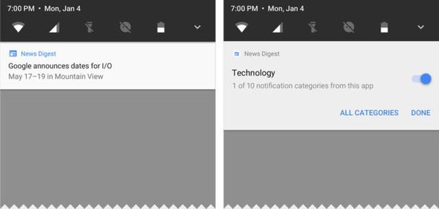 Khung thông báo mới của Android O (bên phải).