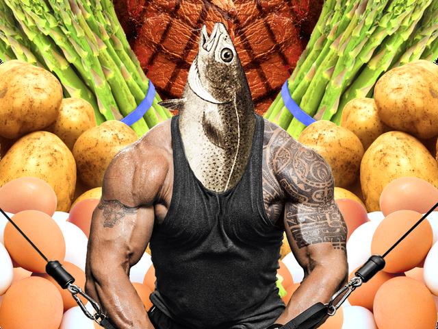 Minh họa vô cùng hài hước cho chế độ ăn uống của The Rock