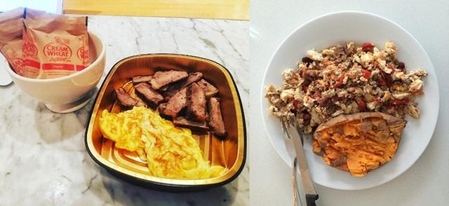 Một bữa sáng đơn giản của The Rock: Thịt bò, trứng và sữa bột. Đây mới là bữa đầu tiên trong ngày, còn 6 bữa ăn nữa đang chờ anh...