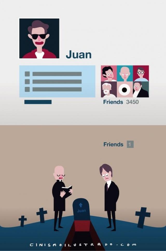 Juan có 3450 bạn bè qua mạng xã hội, tới khi Juan lìa đời chỉ có 1 người bạn đến viếng