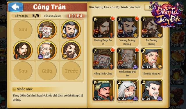Trận hình 5 tướng quen thuộc của dòng game thẻ tướng được tái hiện lại trong Đông Tà Tây Độc