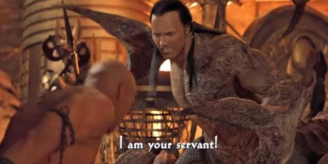 """Dwayne lần đầu tiên xuất hiện trong một phim ngắn vào năm 2001 - """"The Mummy Returns"""" (Xác ướp trở lại). Sau đó, anh tiếp tục được mời đảm nhiệm vai diễn trong """"The Scorpion King"""" (Vua bọ cạp) và nhận được thù lao 5,5 triệu USD. Đây là mức cát-xê cao nhất mà một nam diễn viên từng nhận được cho vai diễn chính đầu tay"""