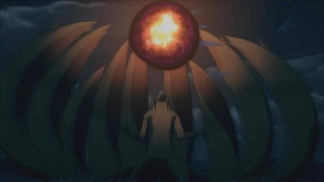 Cửu Vĩ nhanh trí sử dụng quả bom của mình khiến cả hai quả bay lên không trung rồi mới phát nổ. Đây là vụ nổ lớn nhất trong tất cả các vụ nổ khác do bom Vĩ Thú gây ra.
