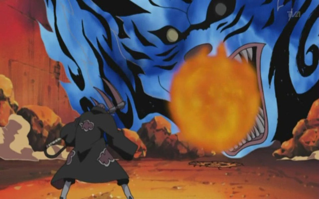 Bom Vĩ Thú của Nhị Vĩ khi đấu với Hidan.