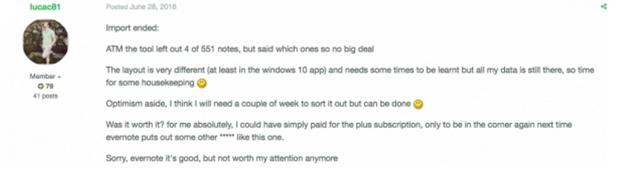 Một người dùng kêu ca trên diễn đàn của Evernote.