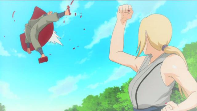 Ngoài Tsunade, Jiraiya dù có đối đầu với đối thủ mạnh đến cỡ nào cũng không thể bị đánh văng xa đến thế này.