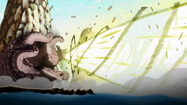 Bát Vĩ thể hiện sức mạnh khủng khiếp của bom Vĩ Thú khi đánh với nhóm Taka.