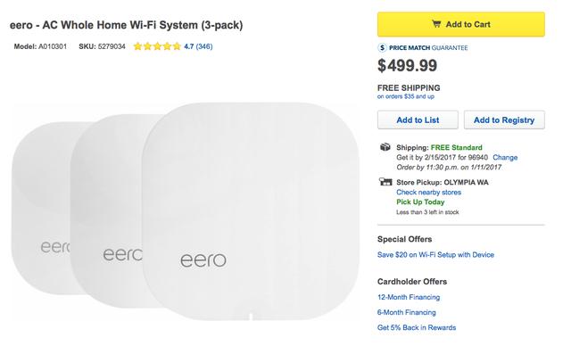 Eero - một giải pháp tương tự như Google Wifi với hệ thống mesh networking cũng có giá không hề rẻ