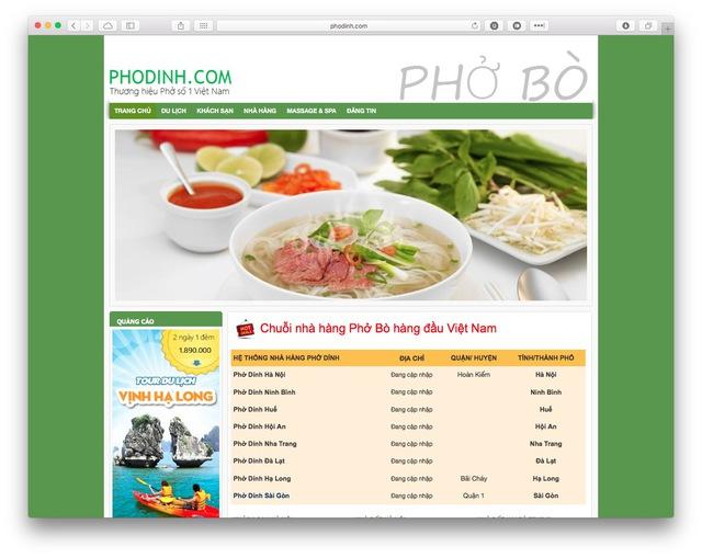 Trang web phodinh.com đã được xây dựng cả nội dung, mặc dù còn sơ sài