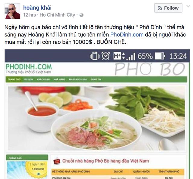 Chia sẻ của ông Hoàng Khải trên Facebook cá nhân