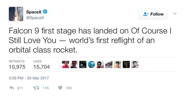 Đoạn tweet thông báo tên lửa đẩy đã hạ cánh thành công của SpaceX.