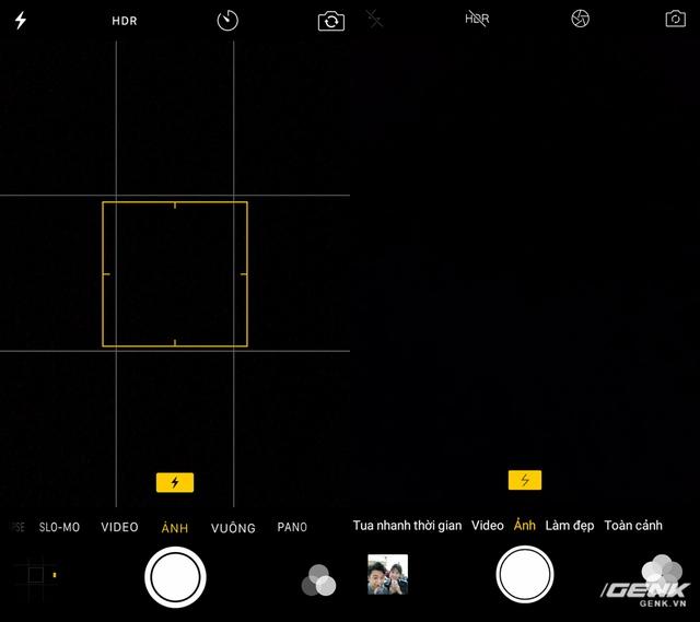 Ứng dụng máy ảnh với khả năng chuyển đổi các chế độ bằng cách quẹt qua lại. Vị trí các nút filter, xem ảnh gần đây cũng là y hệt